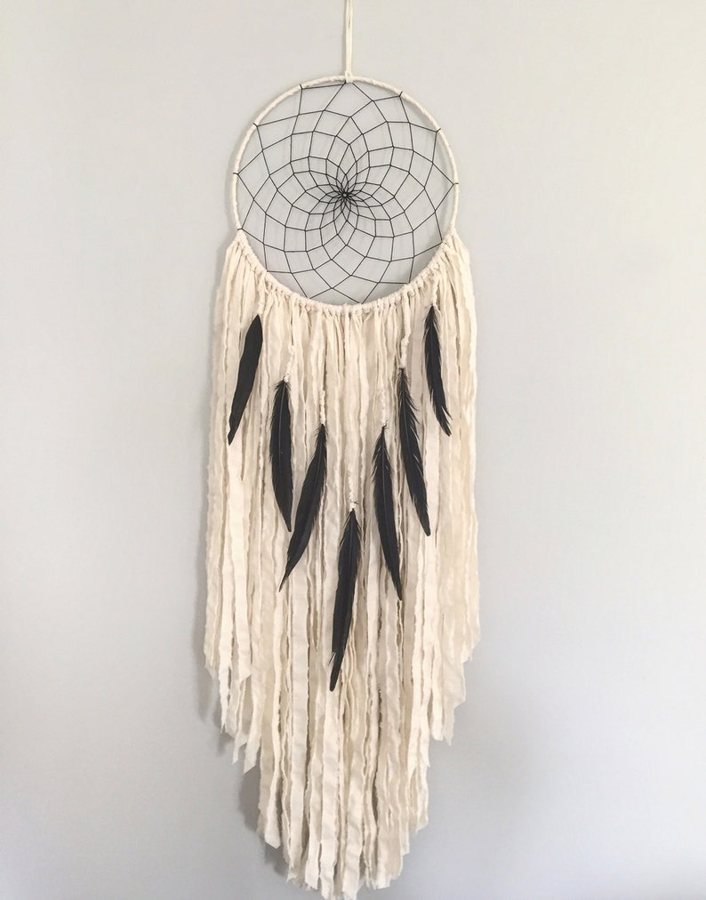 Large Dream Catcher  Large White Dream Catcher with Black image 0