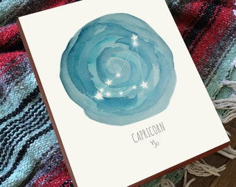 Capricorn Art - Capricorn Constellation - Capricorn Print - Constellation Print - Wood Art Print