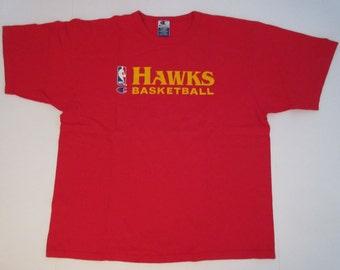 1990s Vintage Atlanta Hawks Champion NBA Cotton Crew Neck T Shirt XL