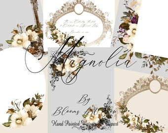 Fall Magnolia Wedding Invitation Frames, Fall White Magnolia Clipart. WC385