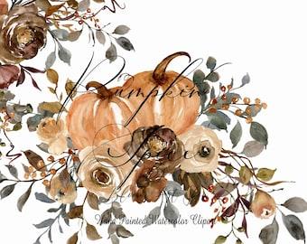 Pumpkin Spice Fall Thanksgiving Arrangement Pumpkin Bouquets Roses Fall Autumn Leaves Fall Greenery Scrapbook Graphics. WC407