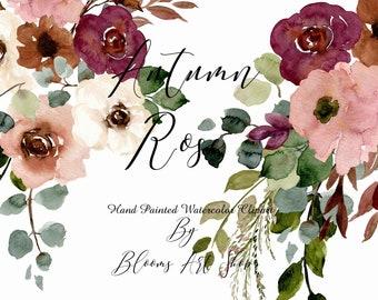 Watercolor Autumn Rose bouquets-burgundy autumn fall wedding eucalyptus greenery. WC261