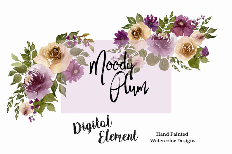WC204 dark plum and terracotta carmel colors No Watercolor plum peonies and roses clip-art and bouquets