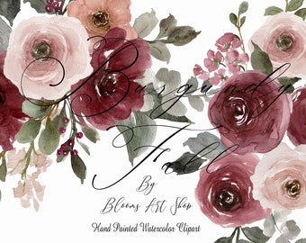 Burgundy Fall Rose Arrangements, Burgundy Blush Floral Clipart. WC463