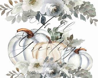 White Pumpkins, Fall Frost Pumpkin Arrangement with Bouquets. WC464
