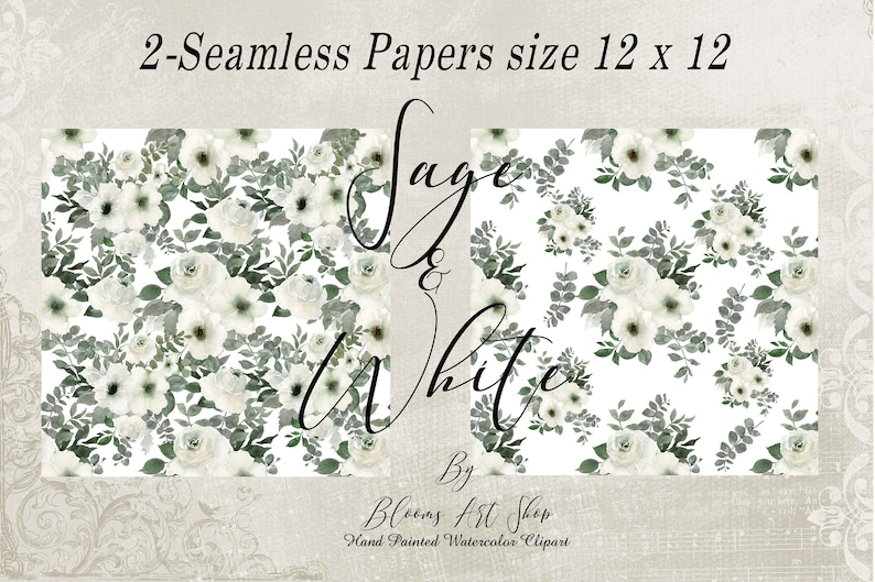 WC323 Sage and White Roses Wedding Rose Bouquets White Wedding Day Rose Seamless Paper Floral Thank You Note Frames and Wreath