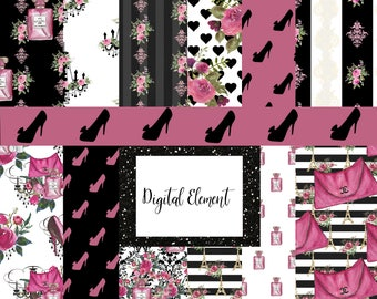 Digital Fashion Paper, Seamless Fashion Paper, Watercolor Channel Paper, Digital Pink and Black Paper. No. PS100