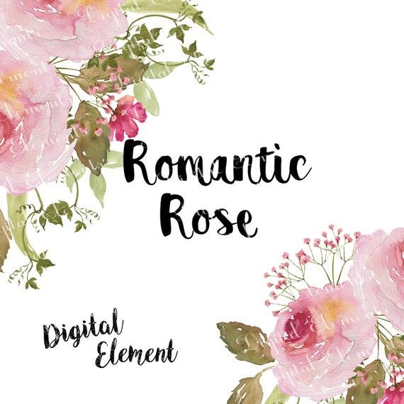 Aquarell-Rose-Clip-Kunst rosa Rose ClipArt rosa Blumen | Etsy
