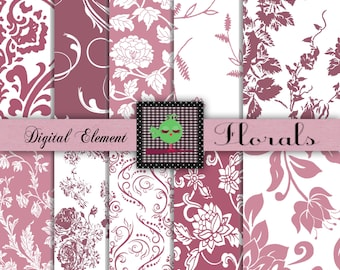 Commercial Use: Digital Scrapbook Paper, Digital Pink Florals, Rose Shabby Flower Scrapbook, Rasberry Swirls and Floral Paper, No. 100.DA