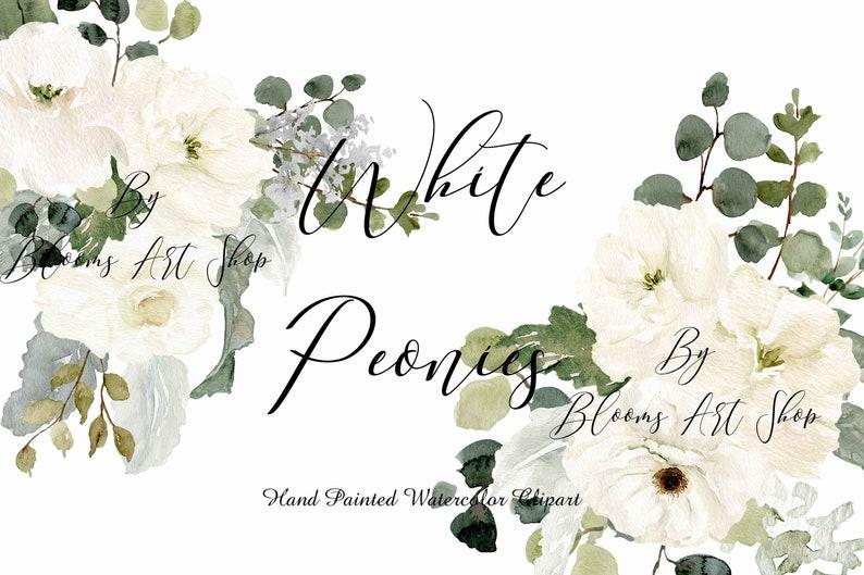 Wedding White Vintage Peonies White Rose clip-art Arrangements image 0