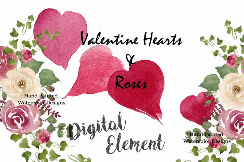 Valentine Hearts Roses Watercolor Rose And Heart Etsy