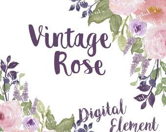 Rose Clip-art, Watercolor Clip-art, Watercolor Lilace Rose Clip-art, Purple Rose Watercolor, Scrapbook Clip-art. No. WC55