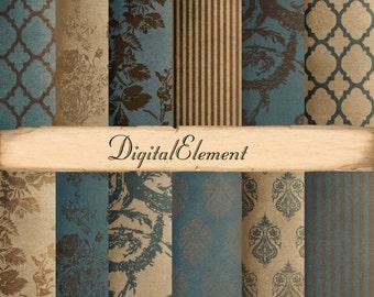 Commercial Use: Digital Background Paper, Teal Scrapbook Paper, Rose Digital Paper, Brown Damask Texture and Background Paper. No.V3.13.DA