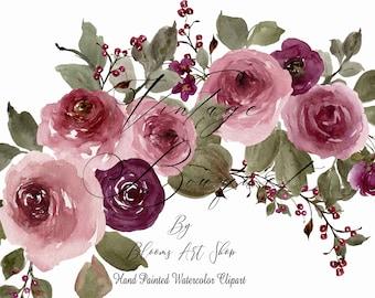 Watercolor Rose Bouquet, Burgundy Red Vintage Rose Arrangement Clip art. WC461