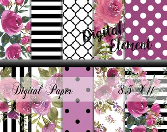 Digital Scrapbook Paper, Digital Paper, Floral Watercolor Paper Set, Shabby Floral Digital Paper Watercolor. No. P203