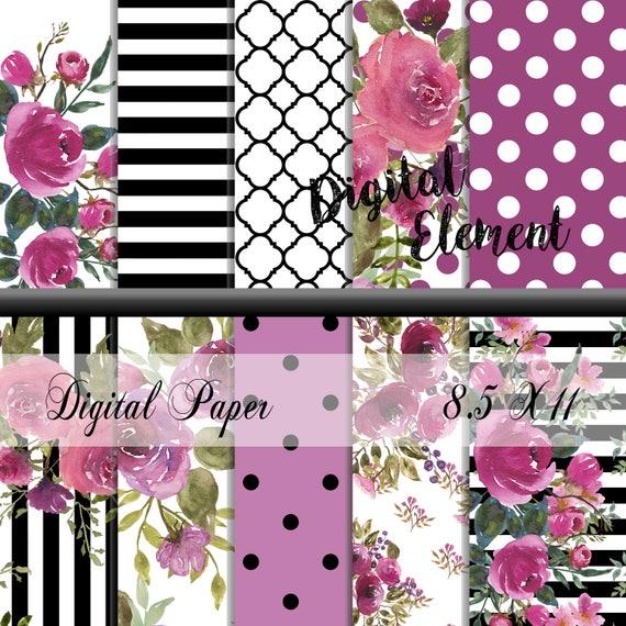 Digital Scrapbook Paper Digital Paper Floral Watercolor Etsy