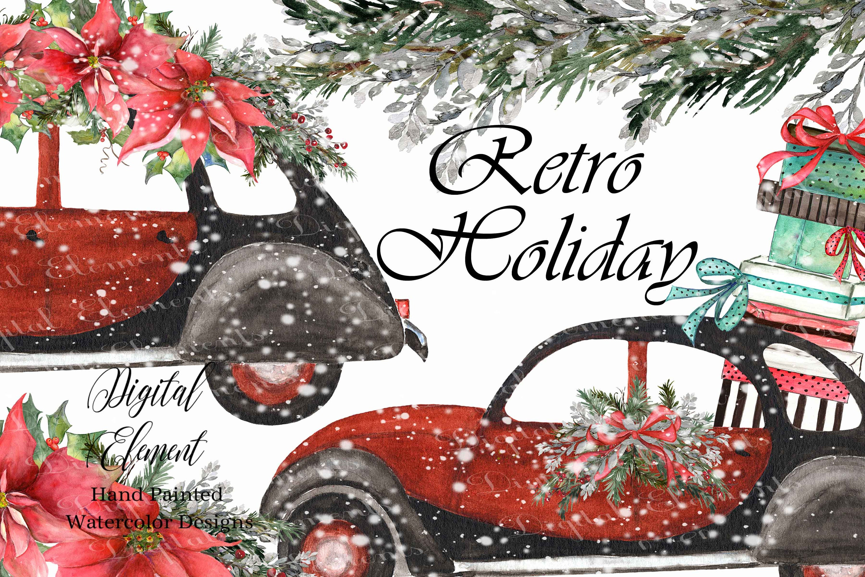 Watercolor Retro Car Christmas Red Vintage Car Clip-art | Etsy