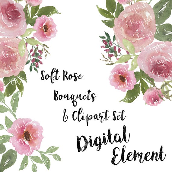 Pink Rose Clip Art Pink Shabby Rose Clipart Watercolor