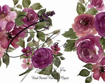 Burgundy and Purple Rose Clipart, Burgundy Pink Rose Bouquets, Seamless Paper. WC465