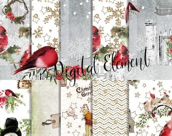 Digital Paper, Christmas Paper, Red Cardinal Paper, Christmas Scrapbook Paper, Holiday Scrapbook Background Paper. No. CHP205