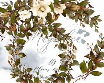 Magnolia Floral Wreath, Vintage White Magnolia Clip Art. WC386