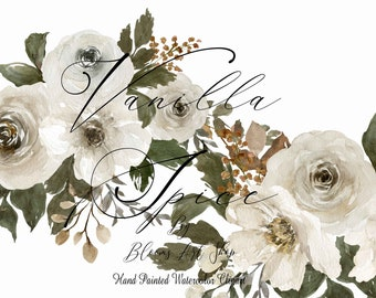 Vanilla Spice Fall Bouquet, White Peonies and Rose Clipart. WC455