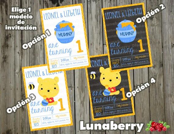 Winnie Pooh Invitación Estilo Pizarrón Pizarra Winnie The Pooh Birthday Chalkboard Invitation