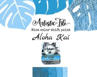 Aloha Kai, iridescent, chrome, metallic, blue gold, sky blue,Half Pan, watercolor paint, handmade paint, Artistic Isle, color shift