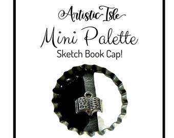 Sketch Book, full pan cap, handmade watercolor, ink, tin, watercolor paint, artistic isle, half pan, dot card