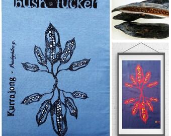 australian aboriginal art teatowel handpainted & screenprinted * frameable bushtucker tea towel
