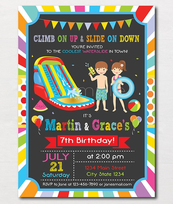 Water Slide Birthday Invitation Invite Pool