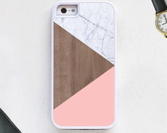 Light marble wood pink modern triangle shapes Cell Phone Case protective bumper cover iPhone6 iPhone7 Android s5 s6 s7 note4 note64