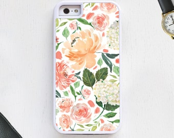 Flower design with florals and leaves in pink peach Cell Phone Case protective bumper cover iPhone6 iPhone7 Android s5 s6 s7 note4 note19