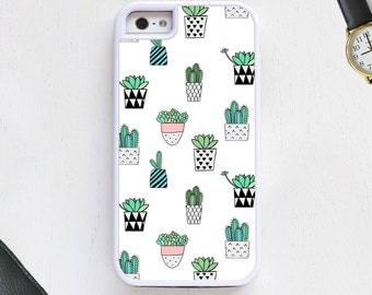 Cactus succulent potted garden green on white Cell Phone Case protective bumper cover iPhone6 iPhone7 Android s5 s6 s7 note4 note61