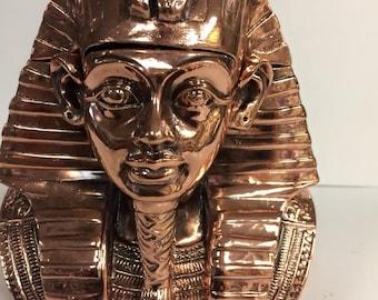 Large Amazing Egyptian leather jewelry box Throned King Tut