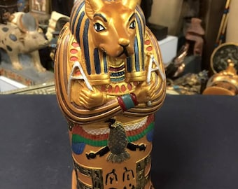Vintage  Hand Made  Egyptian God Anubis  Coffin Made In Egypt