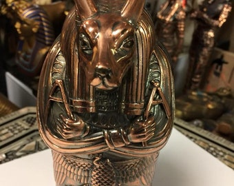 Unique Hand Made Copper Wash  Egyptian God Anubis  Coffin   Made In Egypt