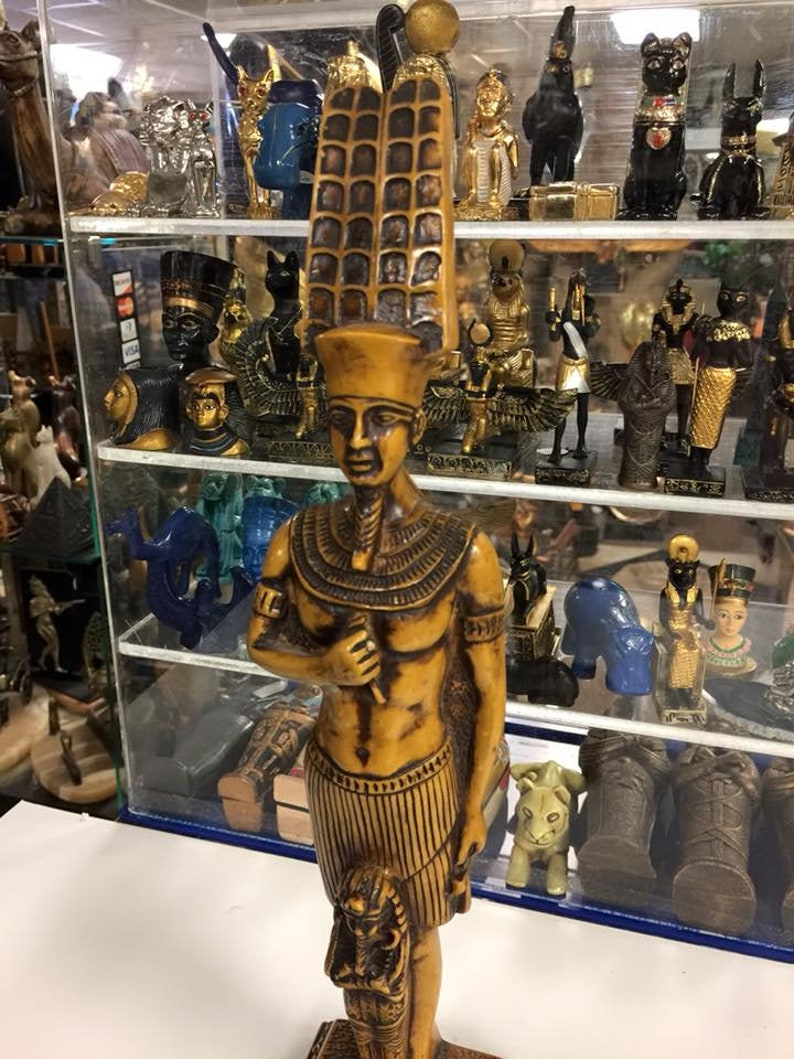 Unique Egyptian God Amun-Ra Great God of Power 14'' H Made In Egypt