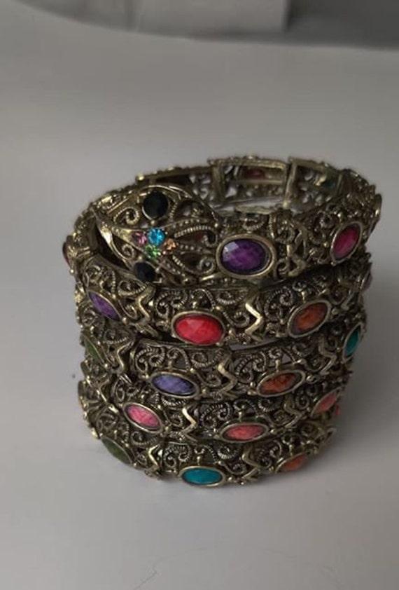 Celluloid Snake Bracelet with Rhinestones Vintage Egyptian Revival or Victorian Bracelet Costume Jewelry
