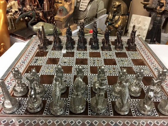 Egyptian handmade Chess board handcraft inlaid mother of pearl 16.8 inch