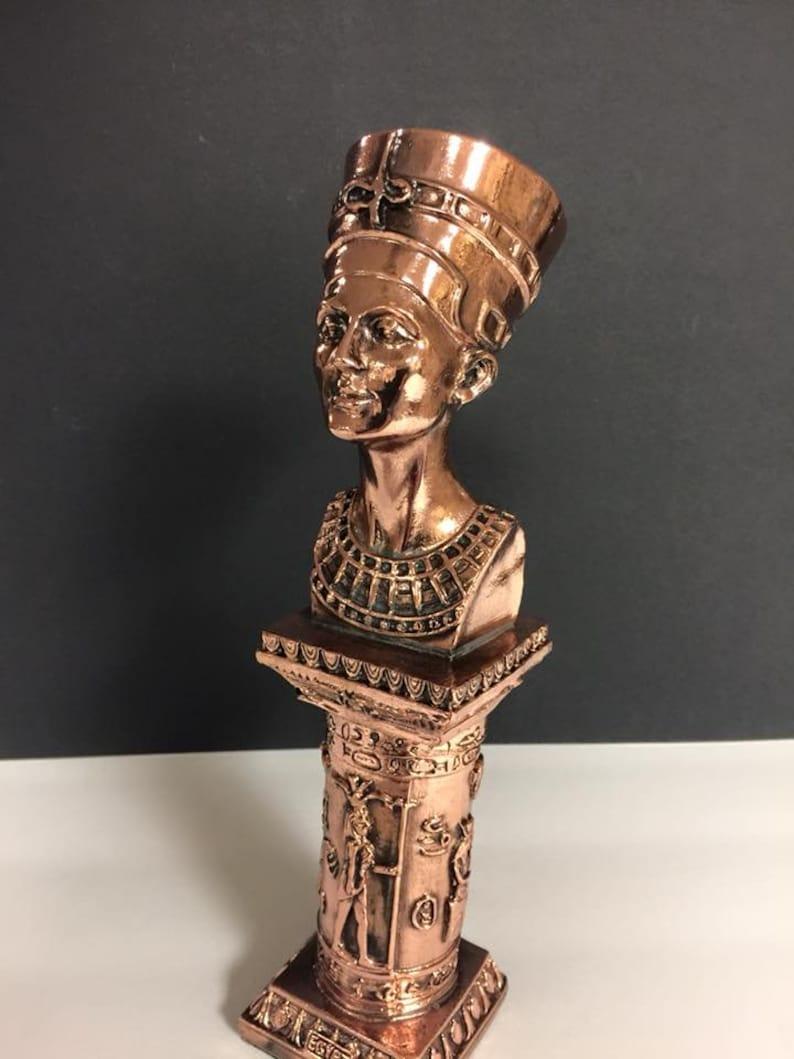 Unique Large Egyptian Queen Nefertiti Statue W/Copper Wash Made In Egypt