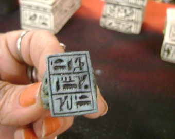Unique Hand Carved Natural Lime Stone Ring Egyptian Hieroglyph MADE IN EGYPT