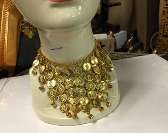 Egyptian Gold Plated Brass Coin Necklace  20'' L Made in Egypt