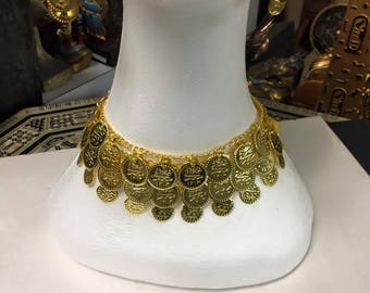 Egyptian Gold Plated Brass Coin Necklace  16'' L Made in Egypt