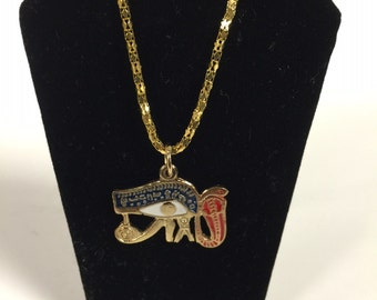Egyptian Gold Plated Brass Eye Of Hours  Necklace Made in Egypt