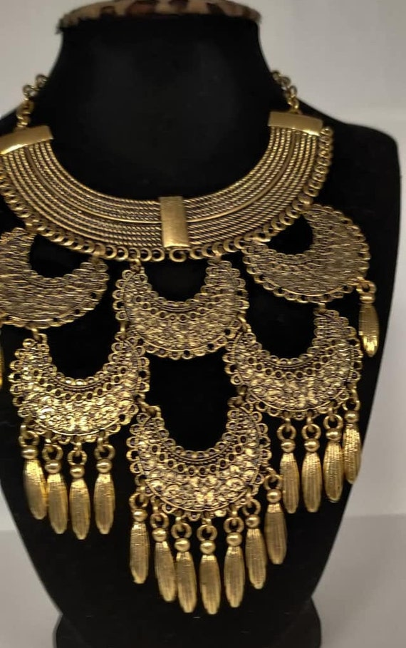 Egyptian Tribal style Brass Gold  Plated Necklace  24/'/' L Made in Egypt