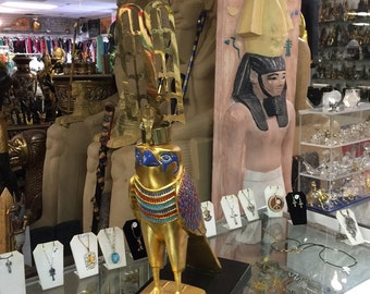 """REPLICA"""" Large Egyptian God Hours Hand Painted Made In Egypt"""