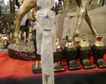 Antique Egyptian God Horus Statue Hand Carved Natural Stone Made in Egypt