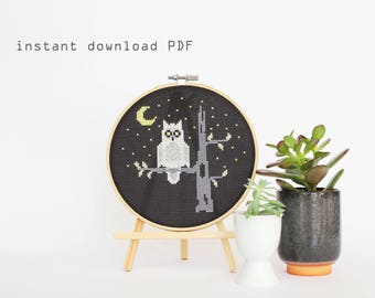 Night Owl - Modern counted cross stitch pattern - Instant download PDF