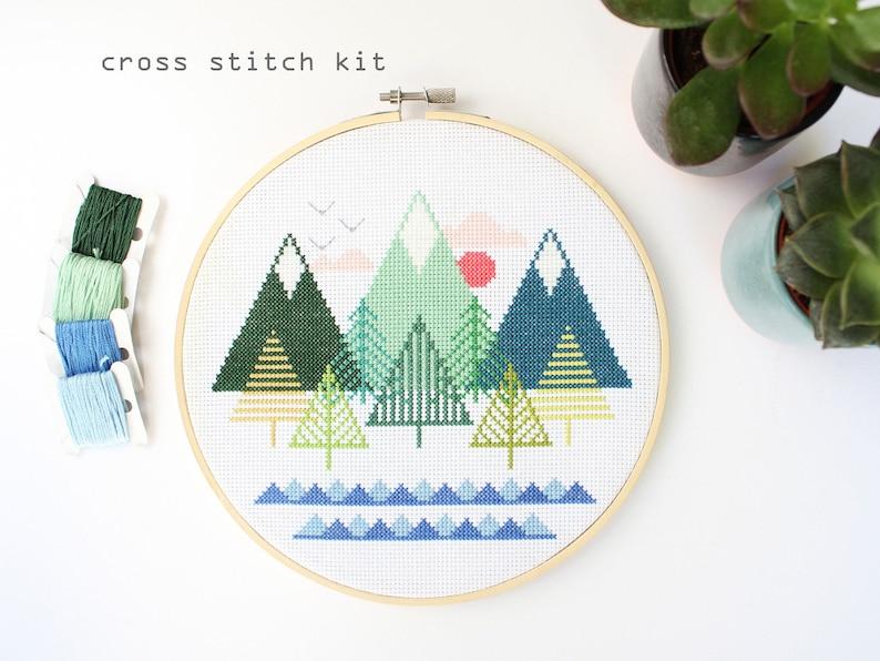 Sea To Sky  Modern Counted Cross stitch kit  Easy DIY cross image 0